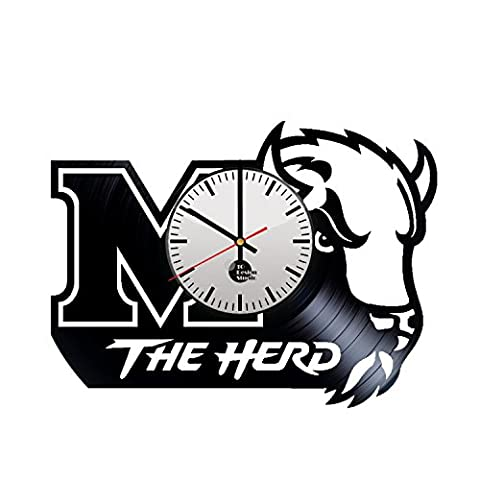 Marshall Thundering Herd Handmade Vinyl Record Wall Clock Fun gift
