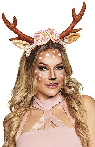 Halloween Rehkitz Kostüm - shoperama Rentier-Geweih mit Blumen Rehkitz Kitz Bambi Ren REH Hirsch Kostüm-Zubehör Hörner Kopfschmuck