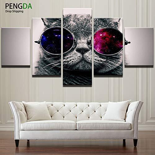 MXLYR 5 Leinwanddrucke Mit Rahmen Leinwand Wandkunst Poster HD Drucke Malerei Lustige Tier Katze Mit Sonnenbrille Modulare Bilder Room Home Decor