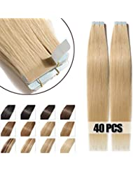 40 Pcs Extensions Adhesives Cheveux Naturels Bande Adhesive Tape in Human Hair Extensions 40CM - #613 Blond très clair
