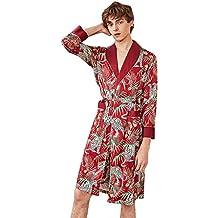 Resplend Bata De Manga Larga con Estampado De Seda para Hombres SimulacióN De Hombre Pijama con