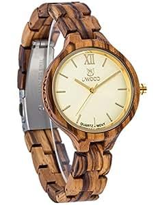 orologio legno zebra naturale al 100% signore del quarzo del polso con contenitore in acciaio