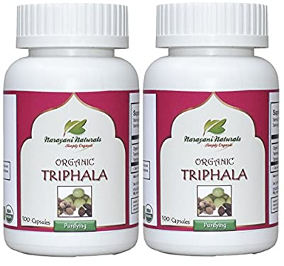 Organic Triphala Capsules 650 mg (200 Nos.) - EU Certifed, Shipped Free via DHL/UPS from Narayani Naturals