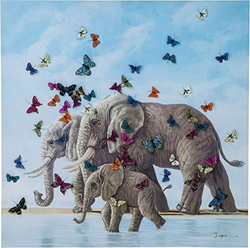 Kare 39251 Design Bild Touched with Butterflys, XXL Leinwandbild auf keilrahmen, Wanddekoration mit Elefanten und Schmetterlingen, bunt (H/B/T) 120x120x4cm (Bilder Von Einem T)