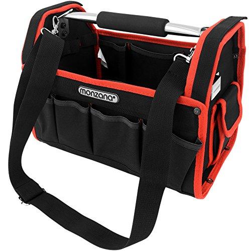 Monzana Werkzeugtasche L   33cm   inkl. Schultergurt   stabile Tragestange - Montagetasche Werkzeugbox Werkzeugkasten