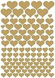 das-label Aufkleber | 106 HERZEN gold | INDOOR matt | unterschiedliche Größen | Valentinstag | Muttertag | Scrapbook | Geburtstag | Geschenke | zum bekleben von Autos | Tüten | Geschenkkartons | selbstklebende Markierungspunkte