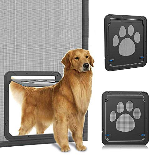 JXwang Extremes Wetter Energieeffiziente Haustier Bildschirm Tür Magnetische Klappe Bildschirm Automatische Abschließbar Schwarze Tür Für Kleine Hunde Und Katzentor,S -