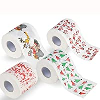 samLIKE Christmas Toilet Paper,Funny Merry Christmas Xmas Pattern Bathroom Tissue Paper Rolls (1/4 Rolls) (4PCS -3 layers)