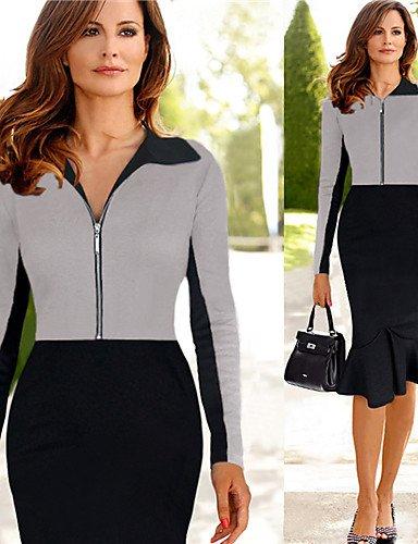 PU&PU Robe Aux femmes Moulante Vintage / Travail / Décontracté Col en V Mi-long Mélanges de Coton gray-2xl