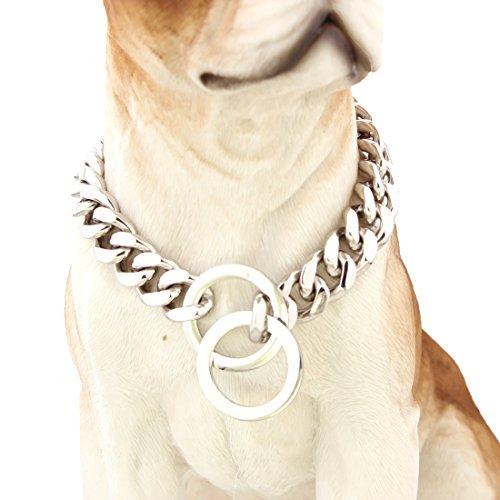 mcsays 15 mm breit Big Hip Hop Silber Ton Edelstahl 316L Dog Choke Kette Halsband Pets Personalisierte Cut Panzerkette Cuban Link Kette 30.5–86.4 cm (Kragen Dog Choke-kette)