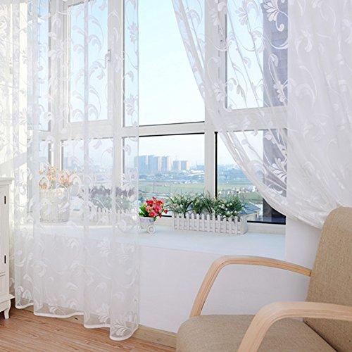 Aihometm - tenda per finestra, in voile e tulle, con drappeggio e motivo floreale, ideale per bay-window (erker) di camere d'hotel, dimensioni: 100x 250cm white