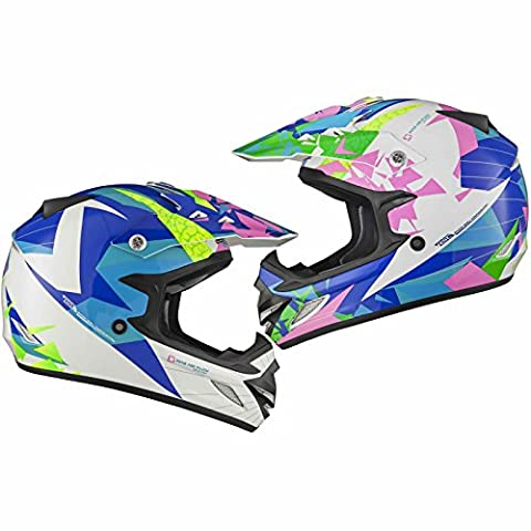 Shox MX-1 Paradox Motocross Helmet L Blue Pink Yellow