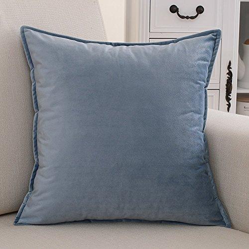 Teebxtile Coussin de camping gonflable Soft Blow-Up housse de voyage coton simple couleur unie, 50x50cm (oreiller + oreiller, Ice Blue