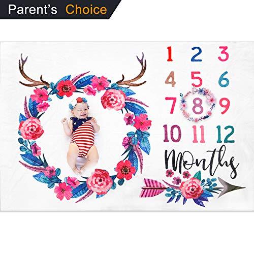 XMyth Baby monatliche Meilenstein Decke, Neugeborene Foto Hintergrund Requisiten, super weiches Baby Swaddling Decke für Fotografie (100x150CM, Flower)