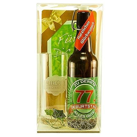 Bier Geschenk zum 77.Geburtstag Geburtstagsgeschenk siebenundsiebzigster Geburtstag Bier Geschenkset zum 77. Geburtstag