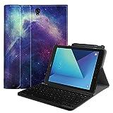 Fintie Tastatur Hülle für Samsung Galaxy Tab S3 T820 / T825 (9,68 Zoll) Tablet-PC - Ultradünn leicht Ständer Schutzhülle mit magnetisch abnehmbarer drahtloser deutscher Bluetooth Tastatur, Die Galaxie