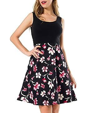Verano Mujer Vestidos Casual Sin Mangas Cuello Cintura Alta Mini Vestido Moda Retro Impresión Patrón Splicing...