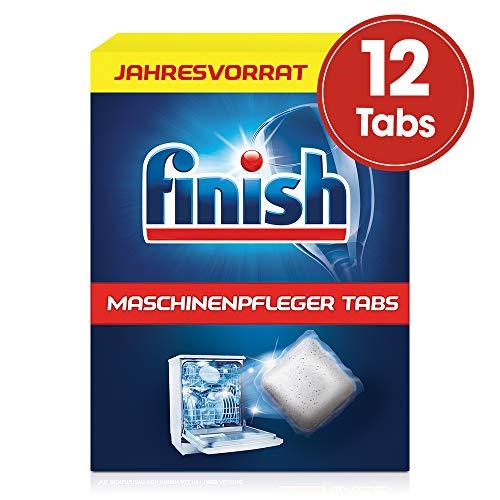 Finish Maschinenpfleger Tabs, gegen Schmutz- und Fettreste in der Spülmaschine, Jahresvorrat, 12 Tabs