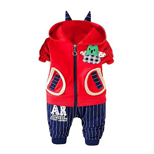 LCLrute New Mode 2Pcs Säuglings kleinkind-Baby-Jungen-Karikatur-mit Kapuze Oberseiten + Hosen-Ausstattungs-Kleidung-Satz(6M-3T) (70, (Kostüm Pop Outfit Art Mädchen)