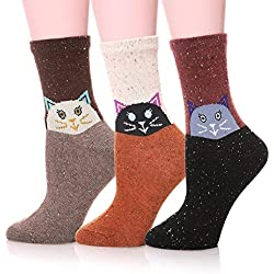 Calcetines de lana de lana para mujer de 3 a 5 pares con varios estampados de moda(Gato)
