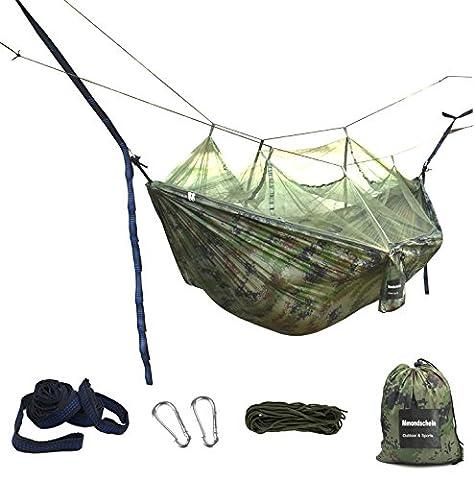 Mmondschein Camping Hängematte mit Moskitonetz Draussen Leicht Nylon Tragbar Fallschirm Hängematte für Outdoor Reise Strand Garten Rucksack