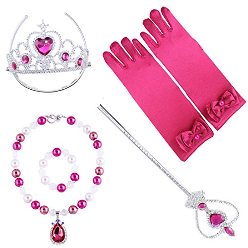 (Prinzessin Zauberstab,Queen Krone,Strass,Tiaras & Handschuh Mädchen Geschenk-Set Prinzessin Karneval Verkleidung Party Cosplay Mädchen Handschuhe Halloween (heiß rosa + Halskette Armband))