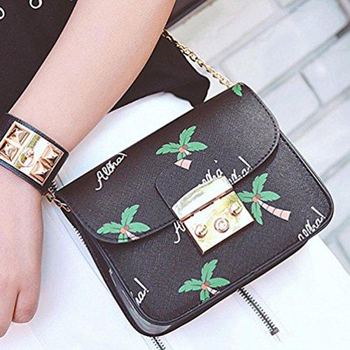BZLine® Frauen Ketten Messenger Bags Handtaschen Schulter-Frauen-Beutel Taschen, 19cm*6cm*15cm Schwarz