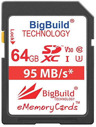 BigBuild Technology 64GB UHS-I U3 95MB/s Speicherkarte für Canon PowerShot SX420 is, SX430 is, SX520 HS, SX530 HS, SX540 HS, SX60 HS, SX610 HS, SX620 HS, SX710 HS, SX720 HS, SX730 HS, SX740 HS Kamera - Speicherkarte Canon Powershot