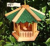 Vogelhaus, Futterhaus, Holz massiv, PREMIUMQUALITÄT, kleines Vogelfutterhaus in Größe 25 cm gr