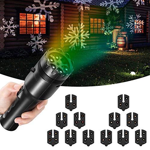 (FITFIRST Taschenlampe mit Projektor, Batterie betrieben 2 in 1 Dekoration tragbar LED Licht & Handprojektor, 12 Dias, Kinder Frühen Pädagogischen Spielzeug für Haus Party, Geburtstag, Weihnachten, Halloween)