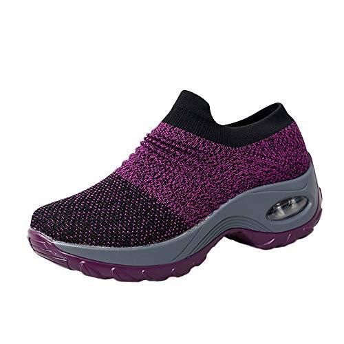 iFRich Damen Mesh Atmungsaktiv Walking Schuhe Outdoor Plattform Sneakers Freizeit Leichte Laufschuhe Gym Sportshuhe -