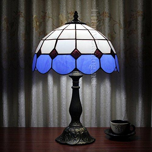Antike Tiffany-tisch-lampe (Tiffany-stil tischlampe,Tischleuchten für schlafzimmer,Led tischleuchte Kreative Glas klar Dekoration Nachttisch-lampe Romantisch Nachtlicht Studie Wärme-Blau)