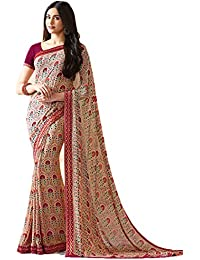 KAMELA SAREE women's silk material Dark Multi colour Printed Party wear saree With Blouse