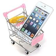 Agua y madera rosa Mini compras carretilla escritorio Supermercado Teléfono Soporte para bolígrafo, cesta para guardar juguetes