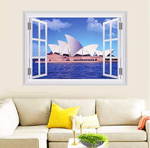 Lvabc Sydney Opera House Wandaufkleber Steuern Dekor Wohnzimmer 3D Fenster Australien Landschaft Wandtattoos Pvc Wand Kunst Diy Poster 50X70 ()