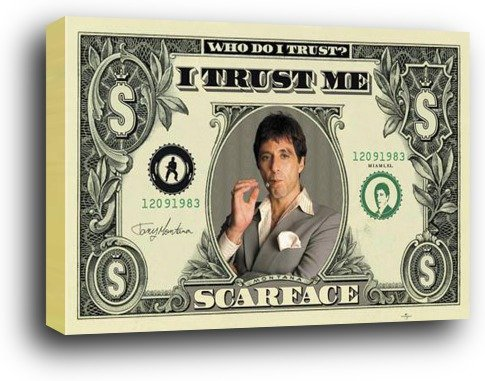 1art1 Scarface Poster als Blockbild - Dollar Bill (91 x 61cm)