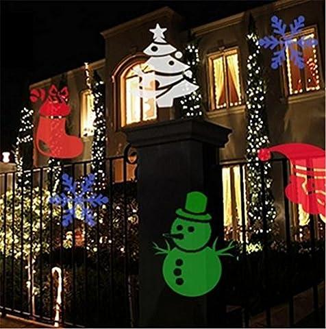 LUCKY CLOVER-A Projecteur de Noël pivotant lumière projecteur lampe LED flocons de neige cloche Santa Claus imperméables étincelant paysage stade extérieur Halloween vacances Maison Jardin décoration murale