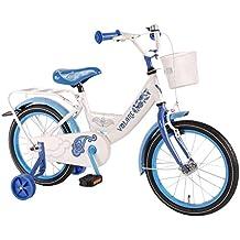 Bicicleta Chica 16 Pulgadas Paisley Cesta y Ruedas Extraíbles Blanco Azul 95% Montado