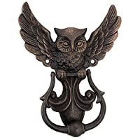 Design Toscano Mystical Spirit Owl Authentic Foundry Iron Door Knocker, Gold, 2.5 x 15.25 x 20.25 cm