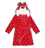 DELEY Bambino Unisex Ragazze Ragazzi Cartoon Animale Soffice Flanella Caldo Hooded Accappatoio Pigiami Vestaglie Homewear Alce Per 125-130cm