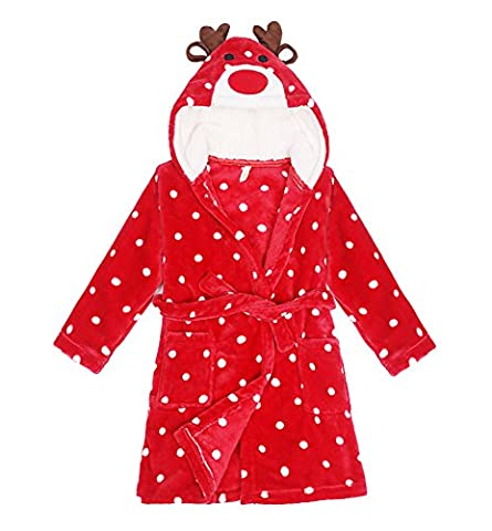 DELEY Unisex Baby Girls Boys Animal Cartoon Supersoft Flannel Warm Hooded Bathrobe Pajamas Sleepwear Nightgown Elk For 125-130cm