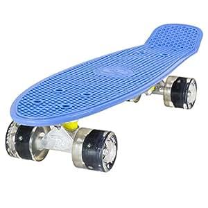 Land Surfer® Skateboard Cruiser Retro Completo 56cm con tavola Blu - Cuscinetti ABEC-7 - Ruote Nere LED Che Si Illuminano 59mm PU + Borsa per Il Trasporto