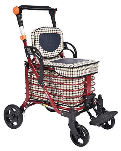 TWGDH 4 Wheel Lightweight Shopping Trolley Ältere Rollator Walker Mit Sitz Zu Essen Zu Kaufen, Um Den Kleinen Faltbaren Wagen Schieben, Nur 8 Kg,A