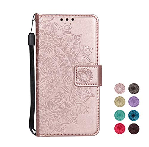 E-Panda kompatibel mit Samsung Galaxy S7 Edge Hülle Rose Gold Mandala Muster Design PU Leather Wallet Cover Flip klappbar Case HandyHülle LederHülle Tasche Etui schutzHülle mit Kartenfach