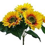 43,2cm Künstliche Seide Sonnenblume Bush mit 5großen Blume Köpfe (12,7cm in Durchmesser)–Home Grave Decor