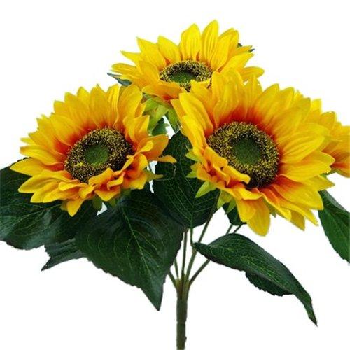 Arbusto de girasol de seda artificial de 17 pulgadas con 5 grandes cabezas de flores (12,7 cm de diámetro), decoración…