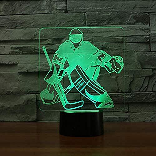Ändern der Schlafzimmer Schlaf Beleuchtung 3D Eishockey Torwart Stil Tischlampe LED Nachtlicht USB Sport Fans Geschenke Home DecorationCreative 7 Farbe Ersatz Acryl Fernbedienung Licht
