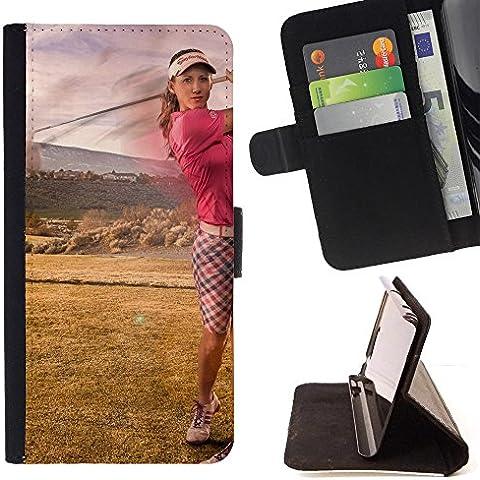 Momo Phone Case / Flip Funda de Cuero Case Cover - Golfer Shot - LG G4