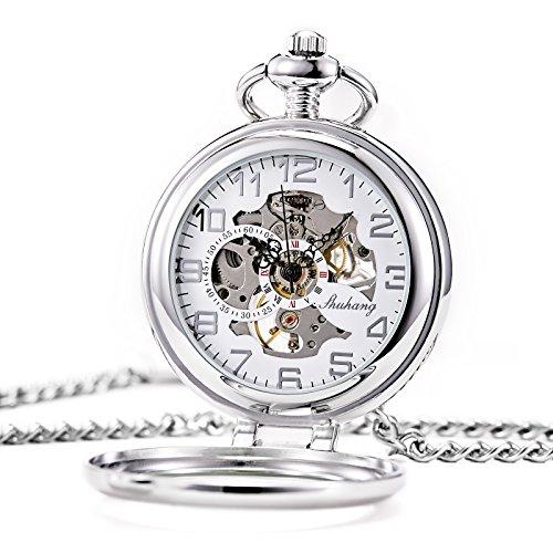TREEWETO taschenuhr mit kette herren silber römische ziffern retro uhr taschenuhren mechanisch pocket watch