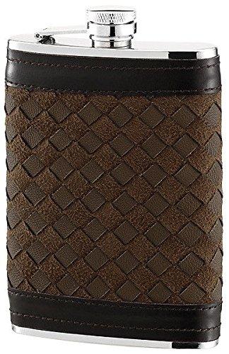 Herbertz-Taschenflasche, Edelstahl, Lederbezug,, Fassungsvermögen 230 ml